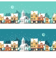 Winter town urban winter landscape cityscape vector