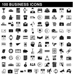 100 business icons set simple style vector image vector image