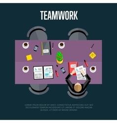 Teamwork concept top view workspace background vector