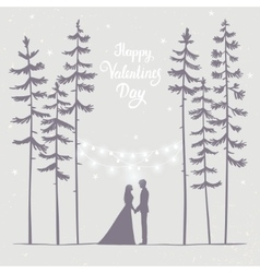 Couple in forest evening vector