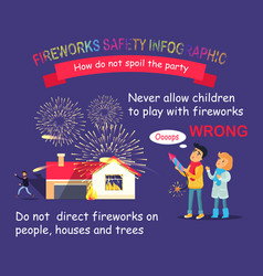 Fireworks safety infographic children with rocket vector