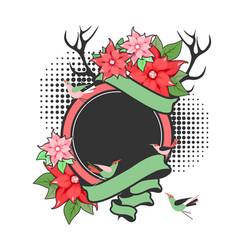 christmas flowers frame vector image
