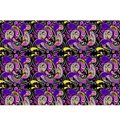 Motley seamless background with purple paisley pat vector