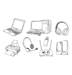 Computer technology set vector