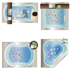 Bathtub top view set 3 vector
