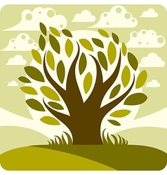 Art graphic of stylized tree and peaceful sp vector
