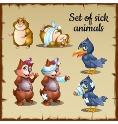 Sick and healthy animals raven beaver hamster vector