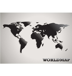 paper cut world map black white and grey abstract vector image