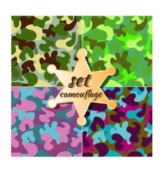 Colorful camouflage seamless pattern set vector