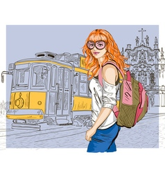 Sketch of a lady sightseeing vector