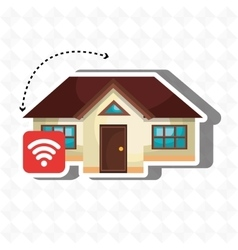 Smart home with wifi signal isolated icon design vector