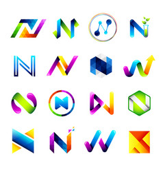 Abstract icons design based on the letter n vector