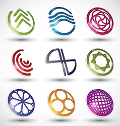 Abstract icons of different shapes set 2 vector image