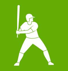 baseball player with bat icon green vector image