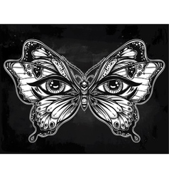 Beautiful butterfly wings with human eyes vector