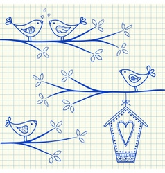 Birdhouse birds doodle squared paper vector