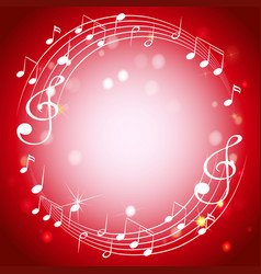 Border template with musicnotes on red background vector