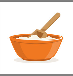 bowl of flour with a wooden scoop baking vector image