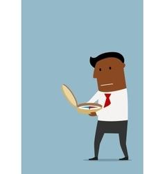 Cartoon businessman with compass in hands vector
