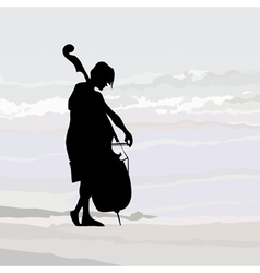 Cellist silhouette against the gray sky vector