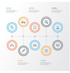 Drug outline icons set collection of tablets bed vector