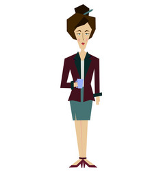 Flat female office worker secretary librarian vector