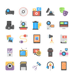 Flat icon set of film making and post production vector