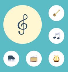 flat icons quaver octave keyboard banjo and vector image