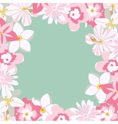 frame with tropical pink flowers vector image
