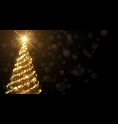 Golden background with christmas tree vector