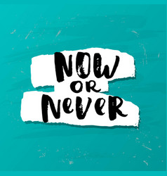 hand drawn calligraphy now or never vector image vector image
