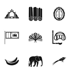 Holiday in sri lanka icons set simple style vector