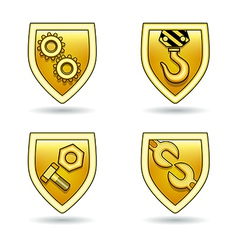 industrial icon shields set vector image vector image