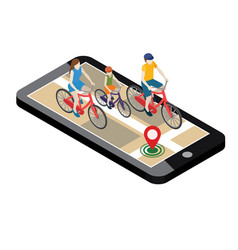 isometric location mobile geo tracking family vector image