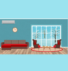 living room interior design with sofa armchairs vector image vector image