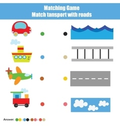 Matching children education game kids activity vector image