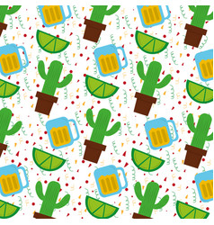 mexican cactus plant and tequila lemon vector image