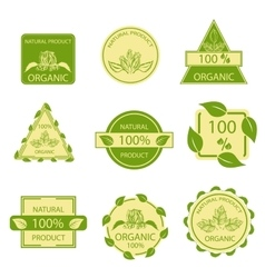 Organic natural emblems products labels mark vector image vector image