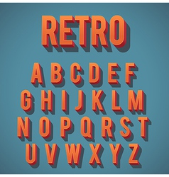 Retro 3d alphabet set vector