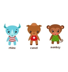 Rhino and camel monkey or ape cartoon characters vector