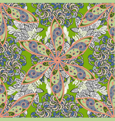 seamless flowers pattern in asian textile style vector image