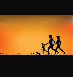 silhouette of family exercising and jogging vector image vector image