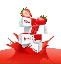 Strawberries lying on a pile of white boxes vector image vector image