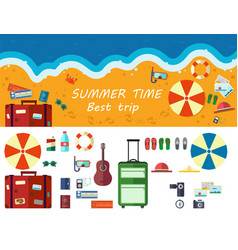 Summer time traveling beach rest vector