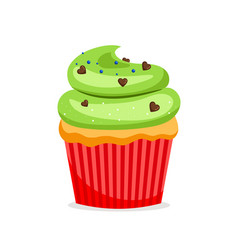 sweet cupcake with green frosting vector image vector image