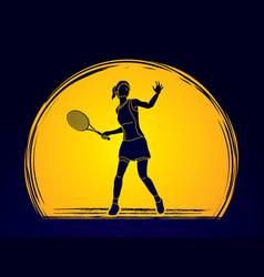 woman tennis player sport woman pose vector image vector image