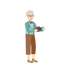 Old Man In Hipster Fashion Clother With Camera vector image