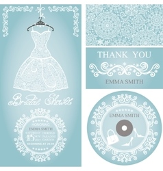 Bridal shower invitation setwinter weddinglace vector
