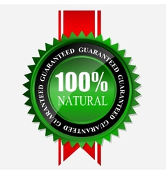 100 natural green label isolated on white vector