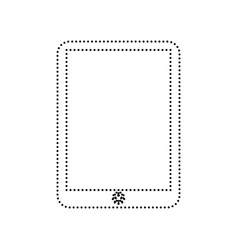 Computer tablet sign  black dotted icon on vector